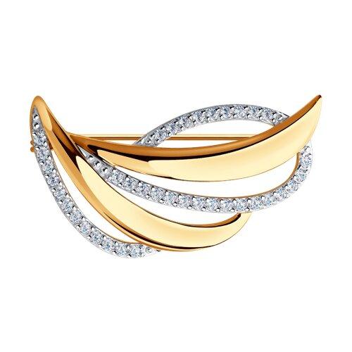 Брошь из золота с фианитами (040162) - фото