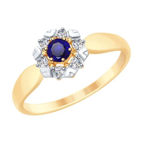 Кольцо из золота с синими корундами и фианитами (715307) - фото