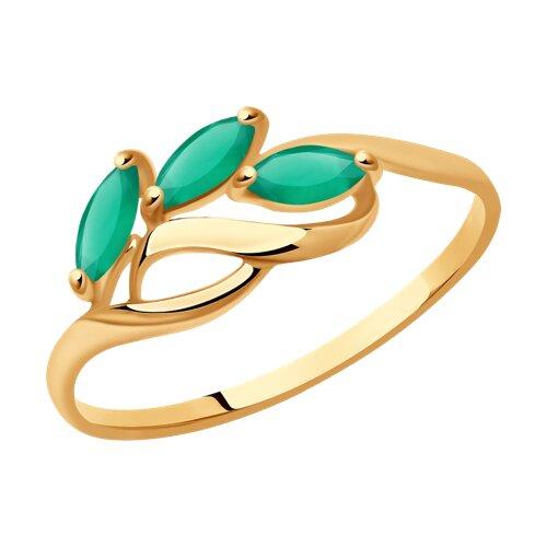 Кольцо из золота с агатами (714606) - фото