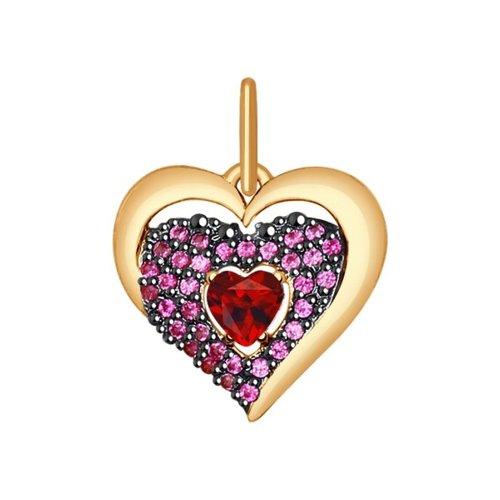Подвеска в форме сердца из золота с красными фианитами