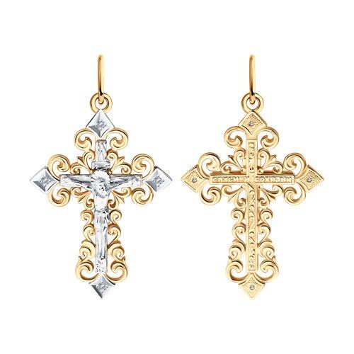 Крест из комбинированного золота с бриллиантами (1120010) - фото