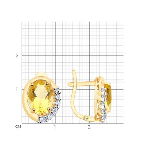 Серьги из золота с цитринами и фианитами 726180 SOKOLOV фото 2