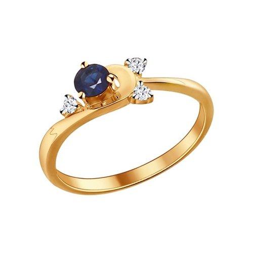 Фото - Кольцо SOKOLOV из золота с бриллиантами и сапфиром кольцо с тремя бриллиантами и сапфиром
