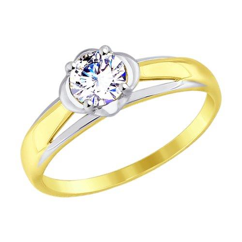 Кольцо из желтого золота с фианитом (017527-2) - фото