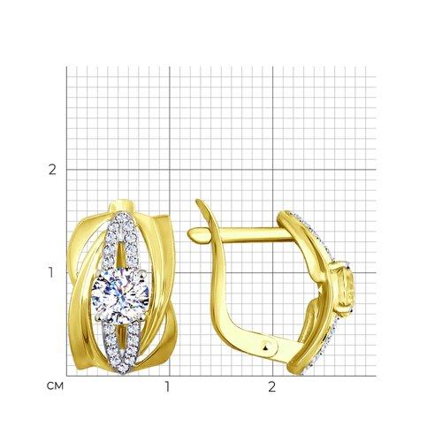 Серьги из желтого золота с фианитами (027446-2) - фото №2
