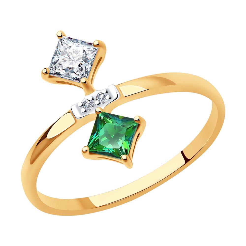 кольцо с бриллиантами топазами из красного золота Кольцо SOKOLOV из золота с бриллиантами и топазами Swarovski
