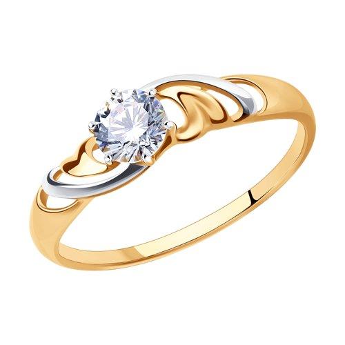 Кольцо из золота с фианитом (017300) - фото