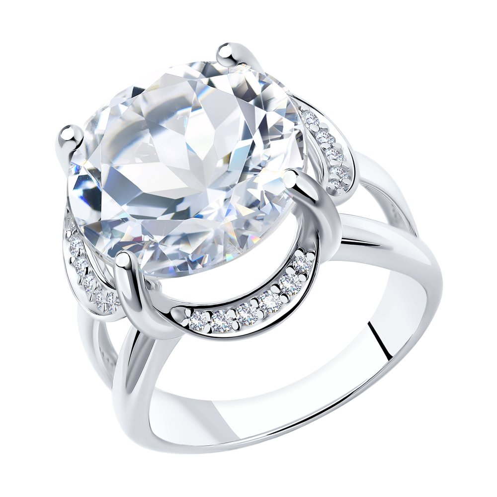 Фото - Серебряное кольцо с горным хрусталём SOKOLOV серебряное кольцо с сердечками sokolov