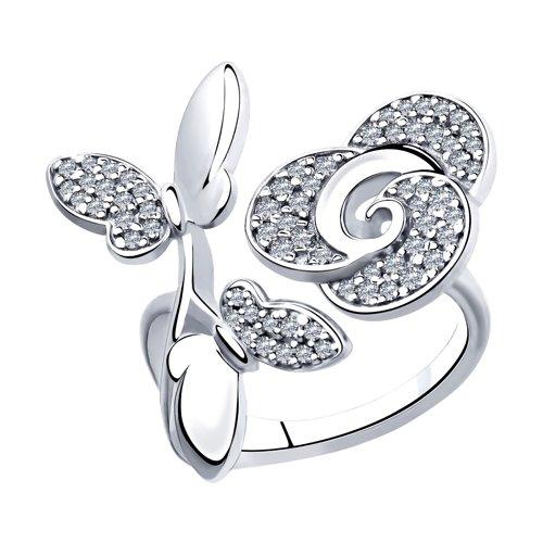 Кольцо из серебра с фианитами (94012931) - фото