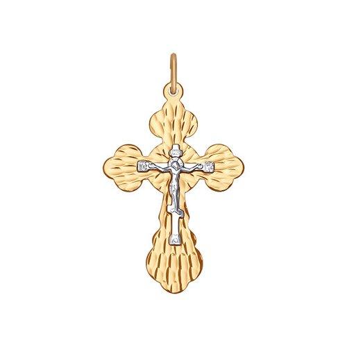 Крест из комбинированного золота с алмазной гранью