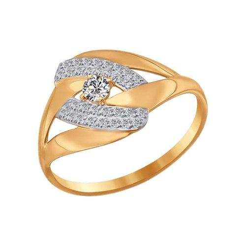 Кольцо из золота с фианитами (016754) - фото