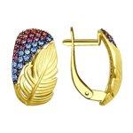Серьги из желтого золота с голубыми, розовыми и сиреневыми фианитами