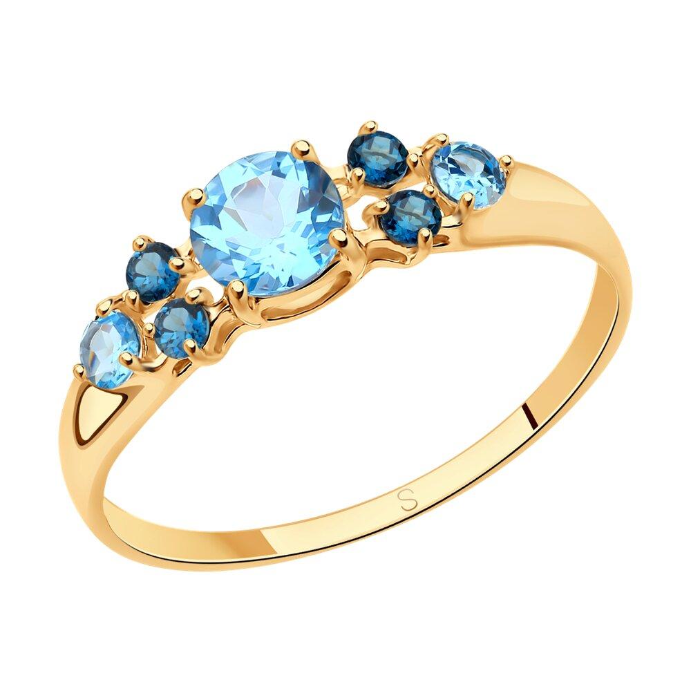 Кольцо SOKOLOV из золота с голубыми и синими топазами фото