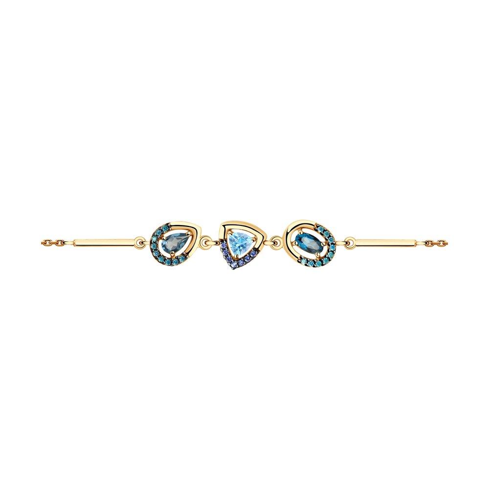 Браслет SOKOLOV из золота с голубым и синими топазами и фианитами фото