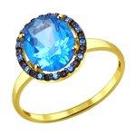 Кольцо из желтого золота с голубыми топазами Swarovski