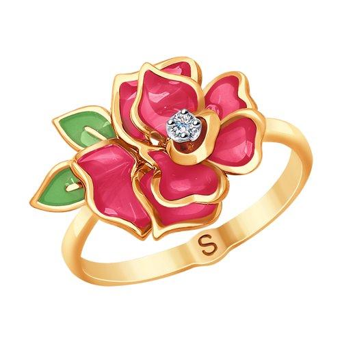 Кольцо из комбинированного золота с эмалью и бриллиантом (6019013) - фото