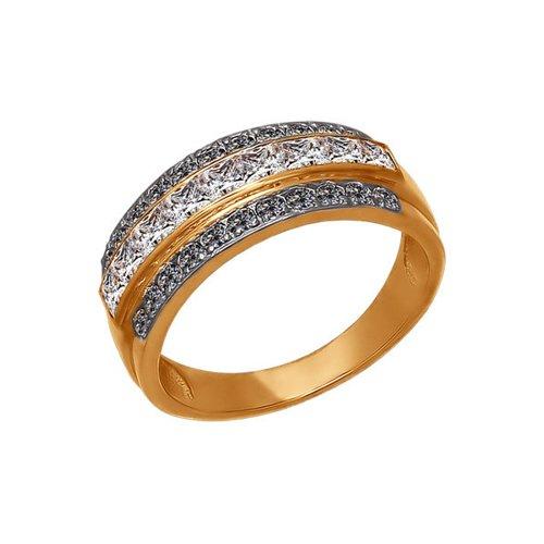 Кольцо из золота с чёрными фианитами