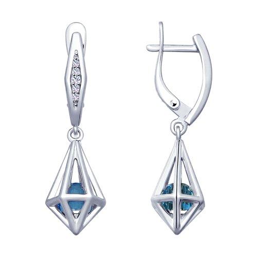 Серьги из серебра с голубыми кристаллами Swarovski и фианитами (94022896) - фото