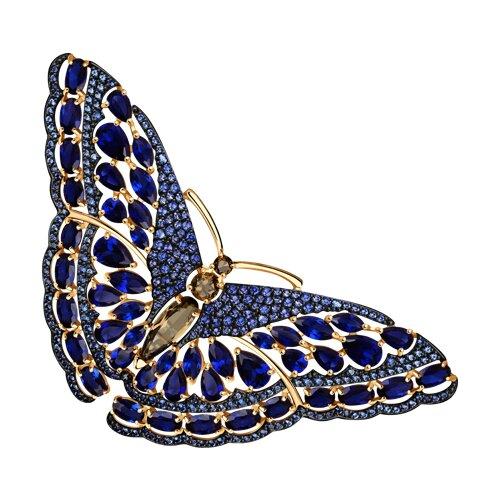 Брошь-бабочка из золота с раухтопазами