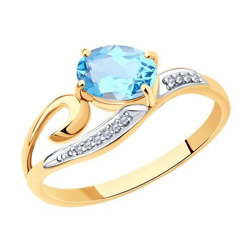 Кольцо из золота с топазом и фианитами (713841) - фото
