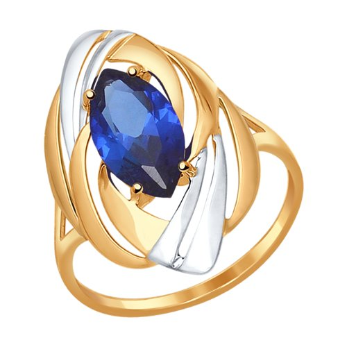 Кольцо из золота с синим корундом (синт.)