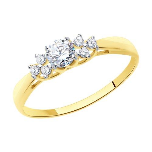 Кольцо из желтого золота со Swarovski Zirconia (81010274-2) - фото