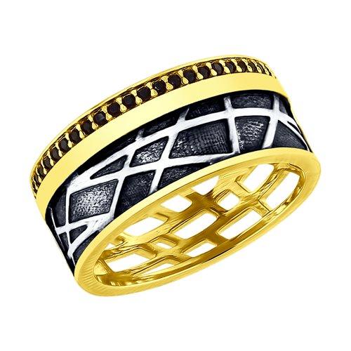 Кольцо из золочёного серебра с фианитами (95010116) - фото
