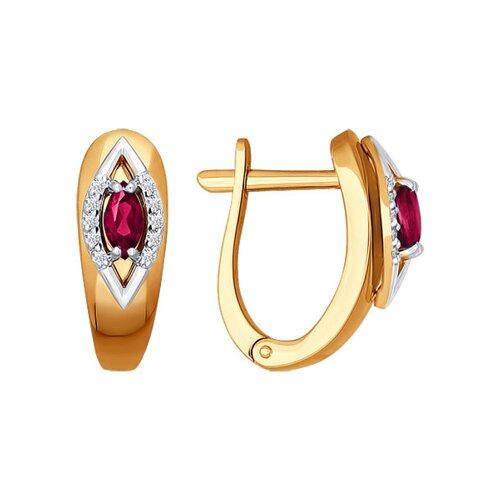 Серьги из комбинированного золота с бриллиантами и рубинами