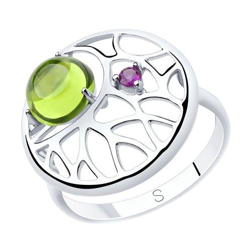 Кольцо из серебра с хризолитом и фианитом (92011904) - фото