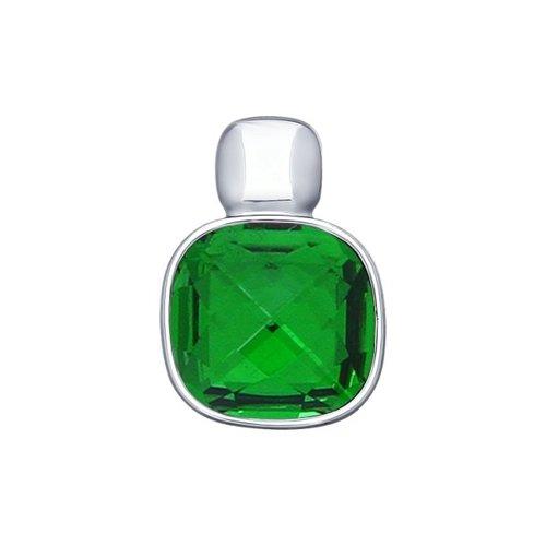 Подвеска из серебра с зелёным кристаллом Swarovski