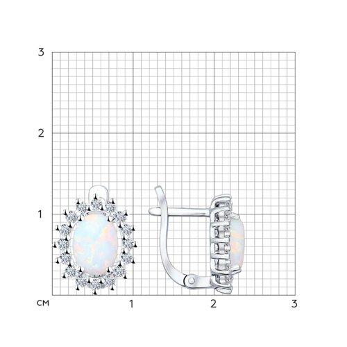 Серьги из серебра с белыми опалами и фианитами (94021891) - фото №2