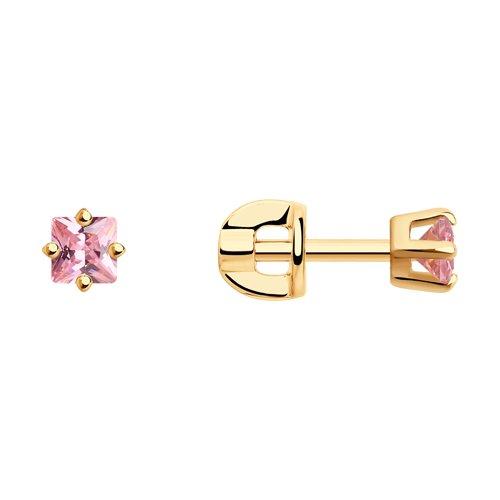 Серьги-пусеты из золочёного серебра с розовыми фианитами