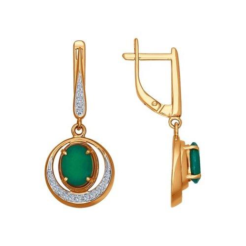 Элегантное золотые серьги с бриллиантами и хризопразом SOKOLOV