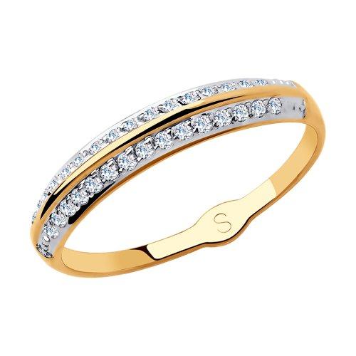 Кольцо из золота с фианитами (018196) - фото