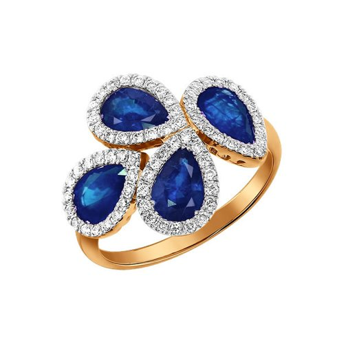 Кольцо SOKOLOV из золота с бриллиантами и сапфирами