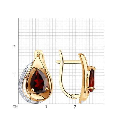 Серьги из золота с гранатами и фианитами 725556 SOKOLOV фото 2