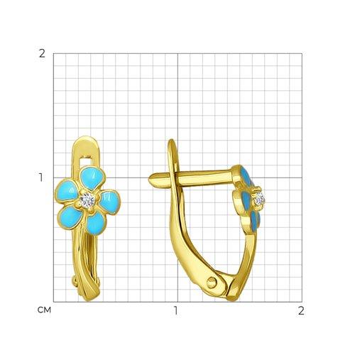 Серьги из желтого золота с эмалью и фианитами (026515-2) - фото №2