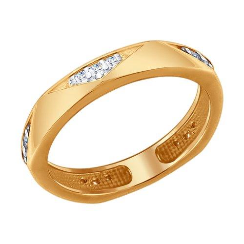 Кольцо из золочёного серебра с фианитами (93010696) - фото