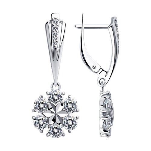 Серьги из серебра с фианитами 94023482