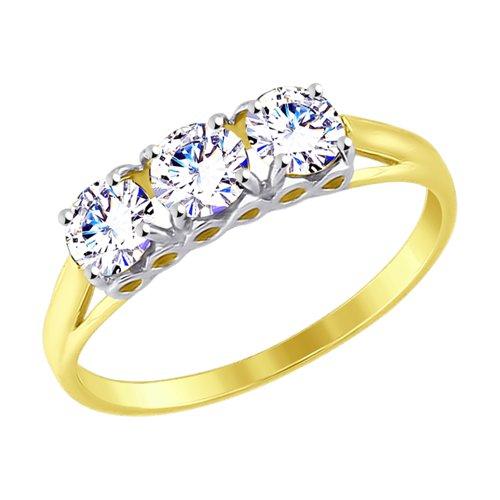 Кольцо из желтого золота с фианитами (017558-2) - фото