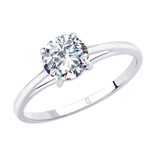 Кольцо из серебра с фианитом (94012845) - фото