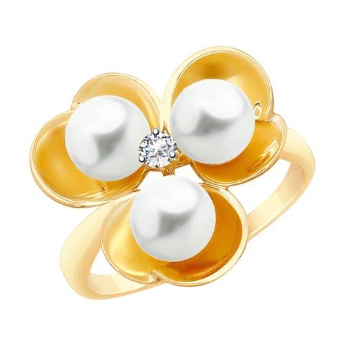 Кольцо из золота с жемчугом и фианитом (791086) - фото