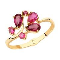 Кольцо из золота с родолитами и красными корунд (синт.)