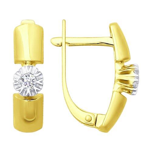 Серьги из желтого золота с бриллиантами (1020897-2) - фото