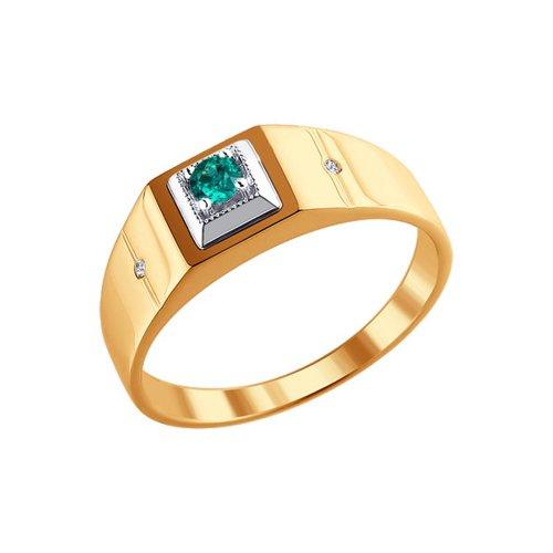 Печатка из комбинированного золота с бриллиантами и изумрудом