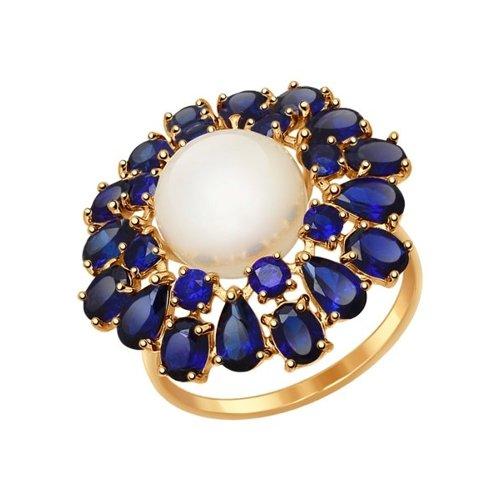 Золотое кольцо с натуральным жемчугом SOKOLOV