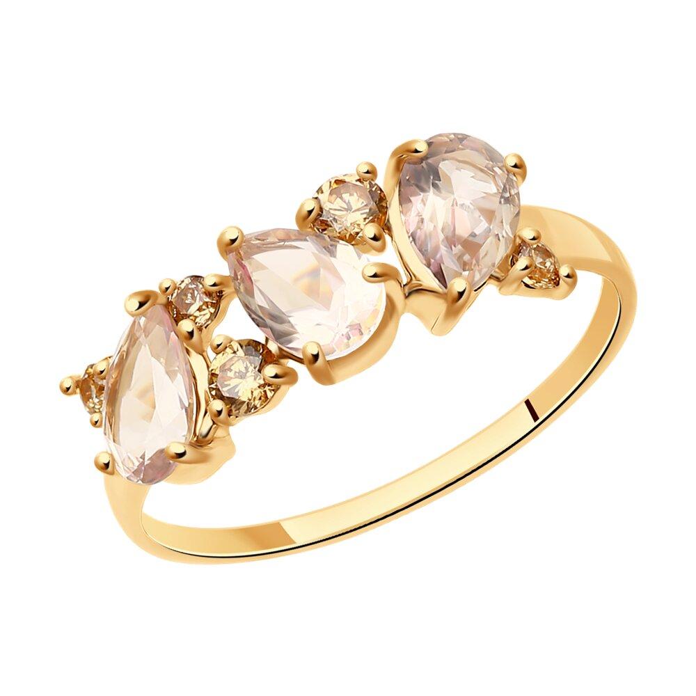 Кольцо SOKOLOV из золота с топазами Swarovski и фианитами кольцо sokolov из золота с топазами swarovski