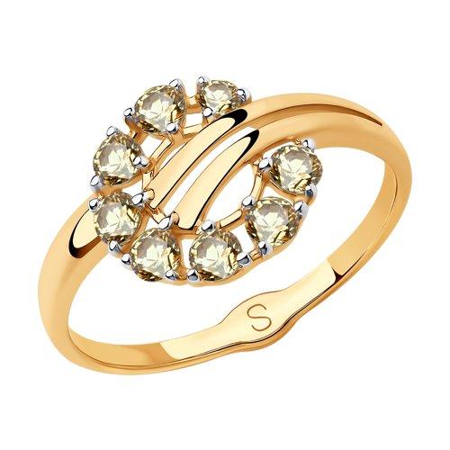 Кольцо из золота с жёлтыми Swarovski Zirconia (81010441) - фото