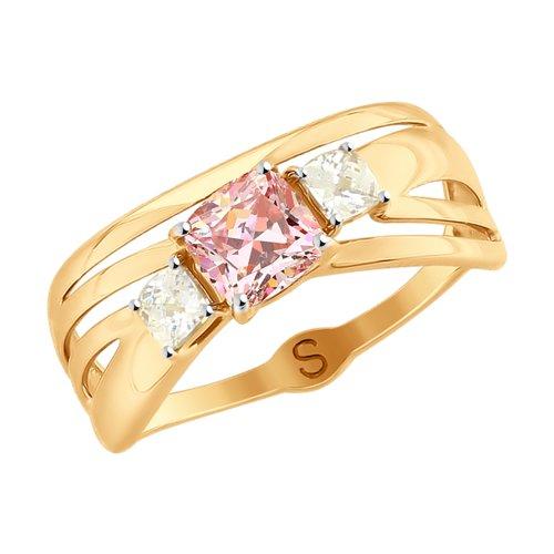 Кольцо из золота с розовыми Swarovski Zirconia (81010374) - фото