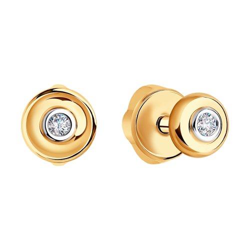Серьги-пусеты из золота с бриллиантами (1021047) - фото №2